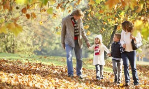 Mandatory Credit: Photo by OJO Images / Rex Features ( 832475a ) MODEL RELEASED Couple outdoors holding hands with two young children in a park VARIOUS